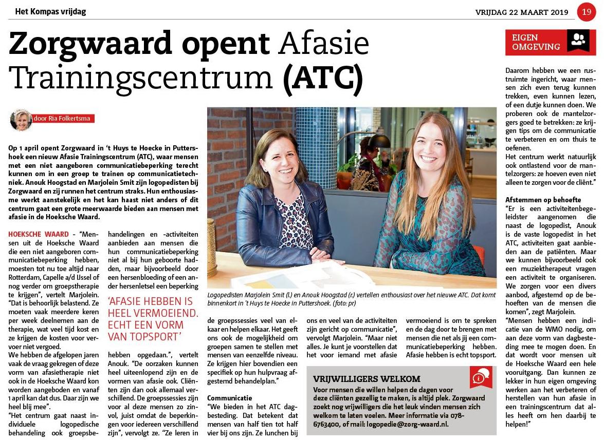 Allereerste Afasie Trainingscentrum in Hoeksche Waard bijna open